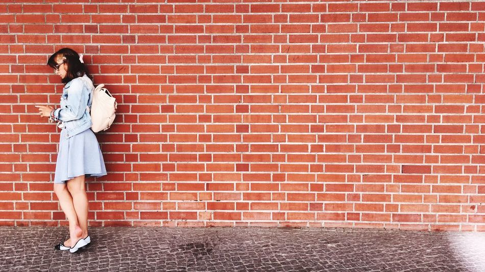 Beautiful stock photos of berliner mauer, brick wall, full length, red, one person