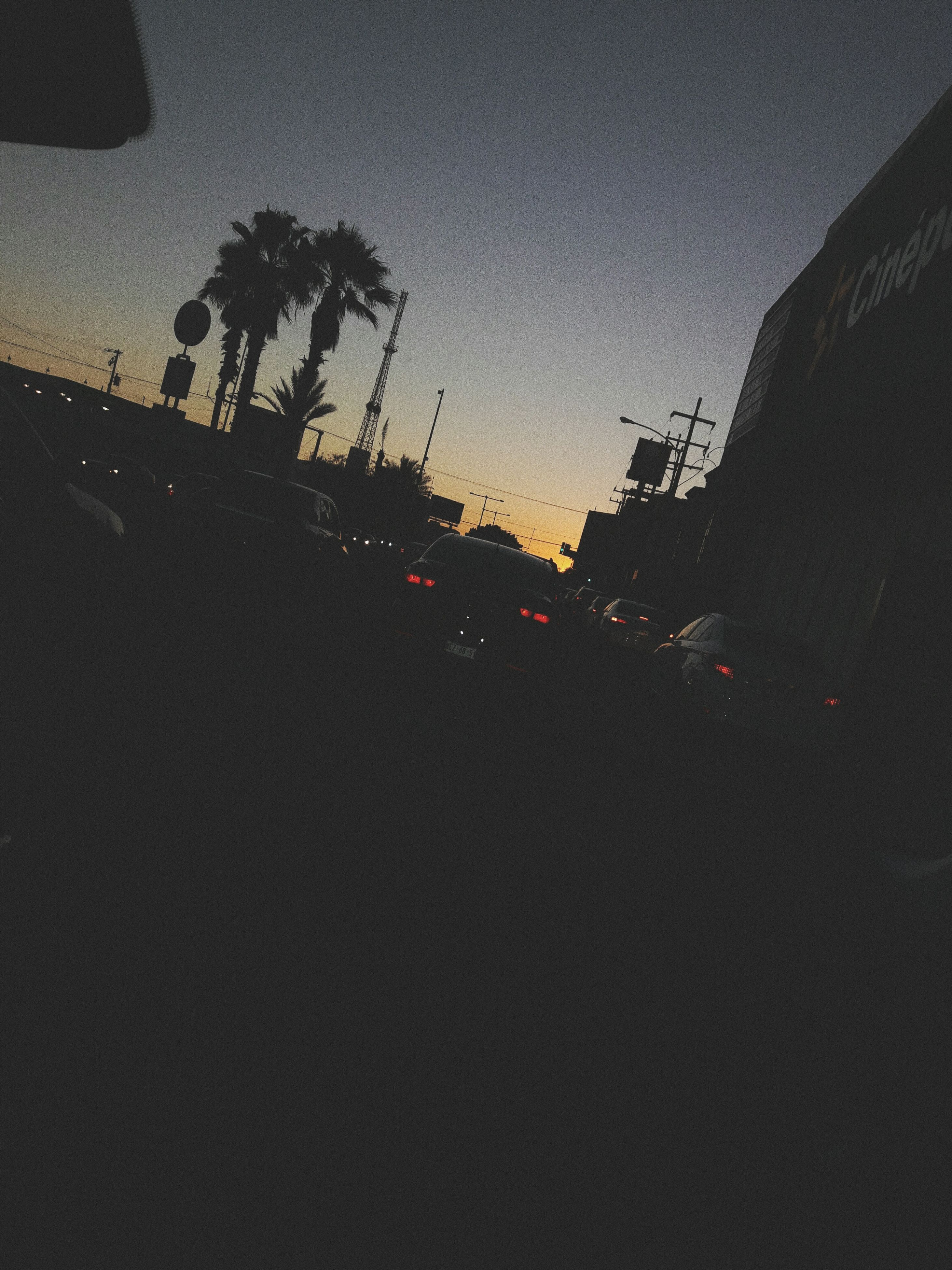 car, land vehicle, transportation, mode of transport, road, street, traffic, tree, car interior, windshield, palm tree, car point of view, sky, no people, outdoors, clear sky, sunset, city, nature, day