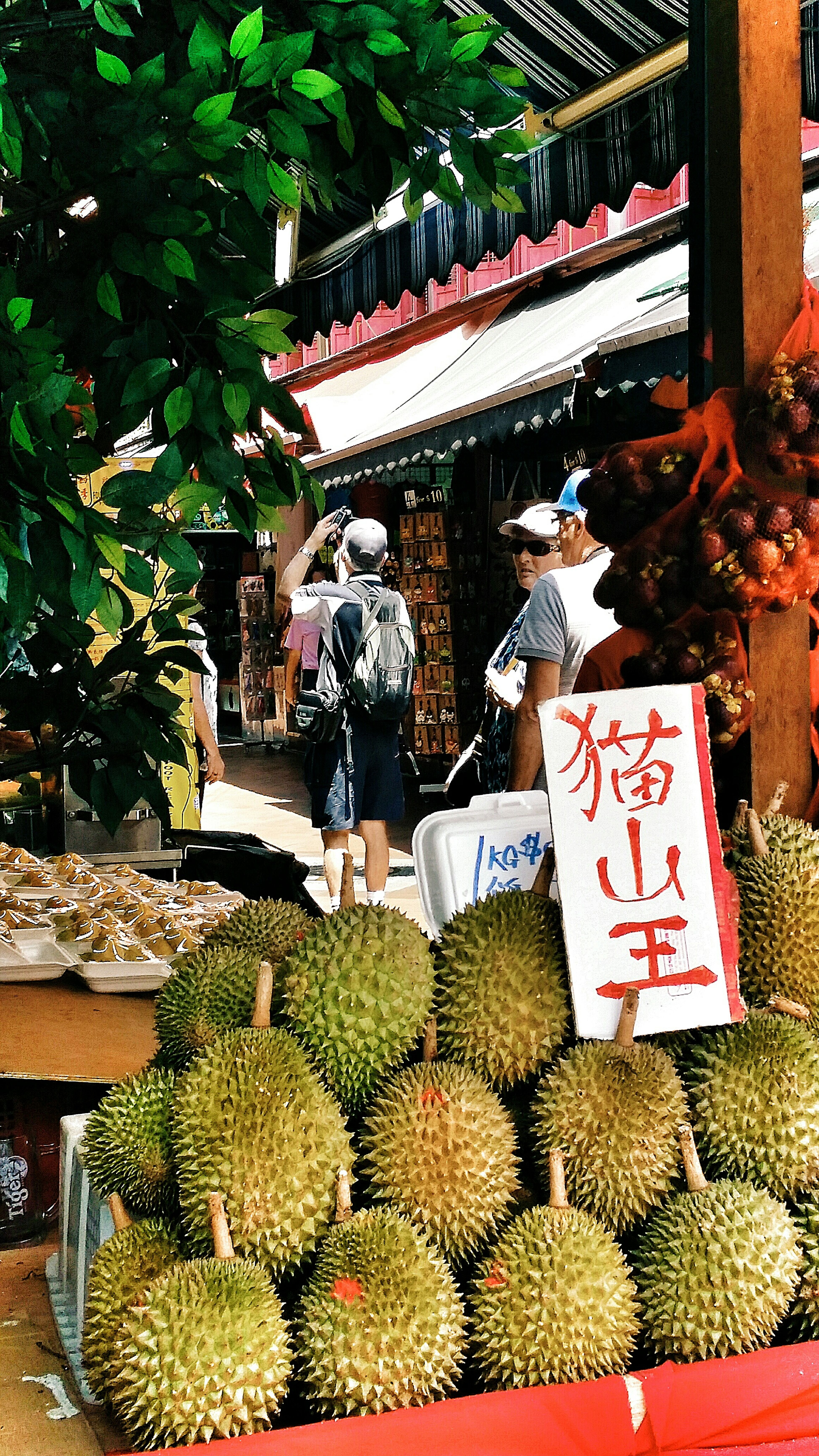 Singapore Chinatown Durians Fruits King Of Fruits Food Prickly Shell Mao Shan Wang Durians 猫山王 from malaysia