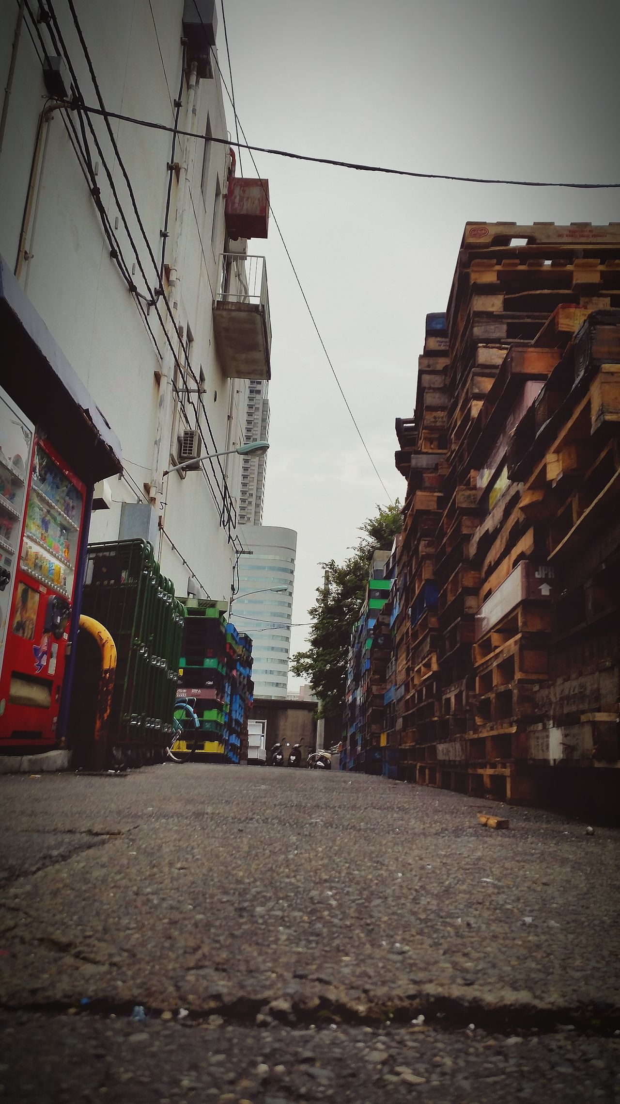 at the Unnoticed Back Alley of Tsukiji Fish Market Tokyo,Japan . City Street City Life City Sky Street Road Cloud - Sky Day Outdoors Abandoned Battle Of The Cities Cool Dark EyeEm Best Shots Palettes EyeEmBestPics Nostalgia Nostalgie Vending Machine Factory Forklift