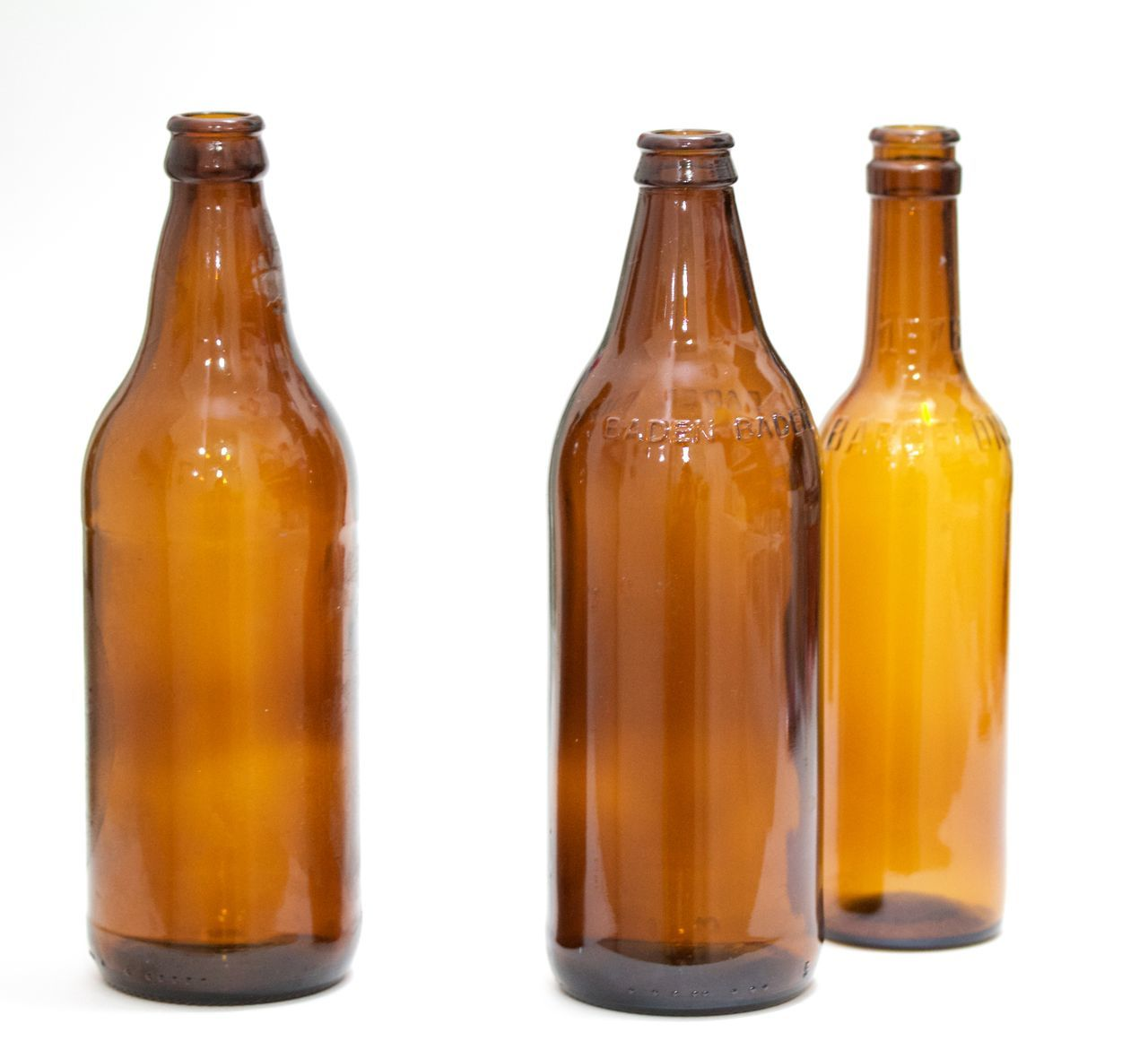 three brown bottles on white background Alcohol Beer Bottle Brown Bottles Close-up Food Food And Drink No People Studio Shot White Background