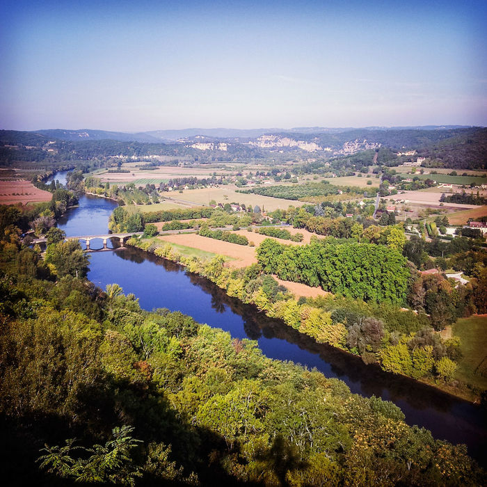 View of the Dordogne from the Bastide of Domme. Clear Sky Domme Dordogne France High Angle View Landscape River Scenics Water