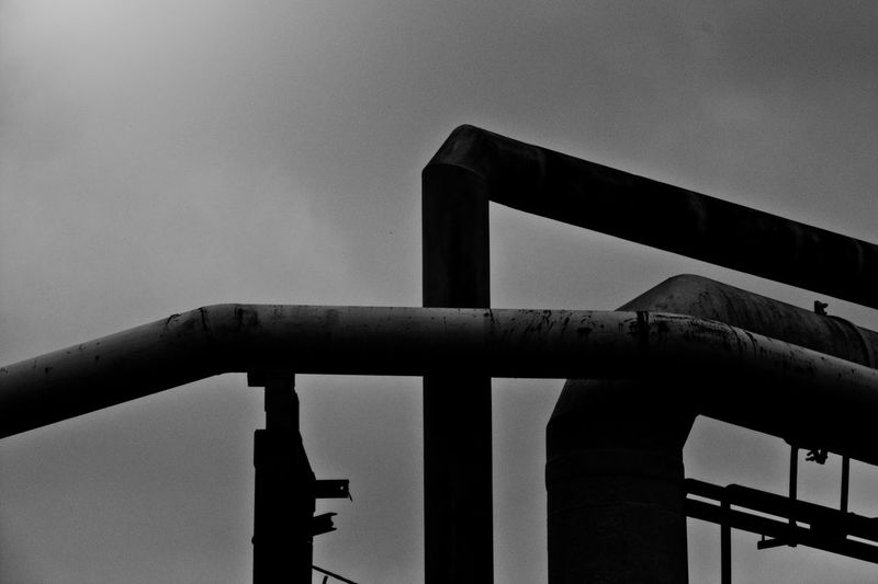 Batory Steelworks / Huta Batory, Chorzów, Poland Architecture Black And White Building Built Structure Clear Sky Construction Day Geometry Geometry Shapes Industrial Industry Ironwork  Pipe Pipe - Tube Pipeline Shape Shapes Steelwork Structure