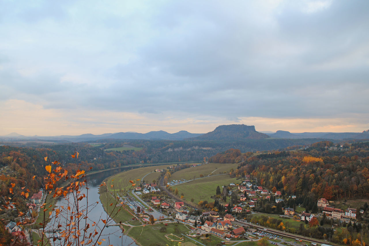 View from the Bastei on the town of Rathen and the Lilienstein Autumn Autumn🍁🍁🍁 City Cityscape Cloud - Sky Elbe Elbe River Evening Mood High Angle View Landscape Landscape #Nature #photography Landscape Photography Landscape_Collection Landscape_photography Landschaft Lilienstein Mountain Mountain Range Mountains No People Outdoors Rathen Saxon Switzerland Sky View From Above
