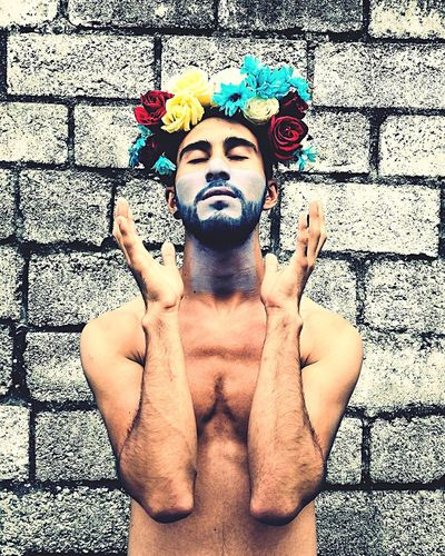 Flowers... Real People Lifestyles One Person Portrait Men Day Flower Shirtless Only Men Beauty Modelboy Malemodel  Human Body Part Frida Kahlo Menwithstyle Menwithflowers Leisure Activity Multi Colored