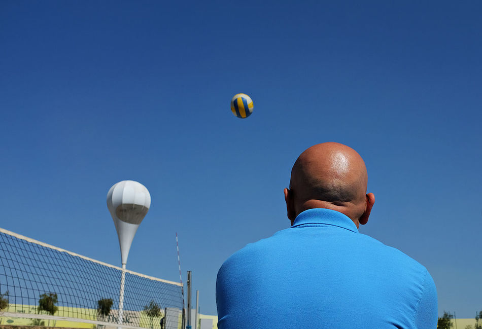 Beautiful stock photos of volleyball, Back Of Head, Ball, Blue, Clear Sky