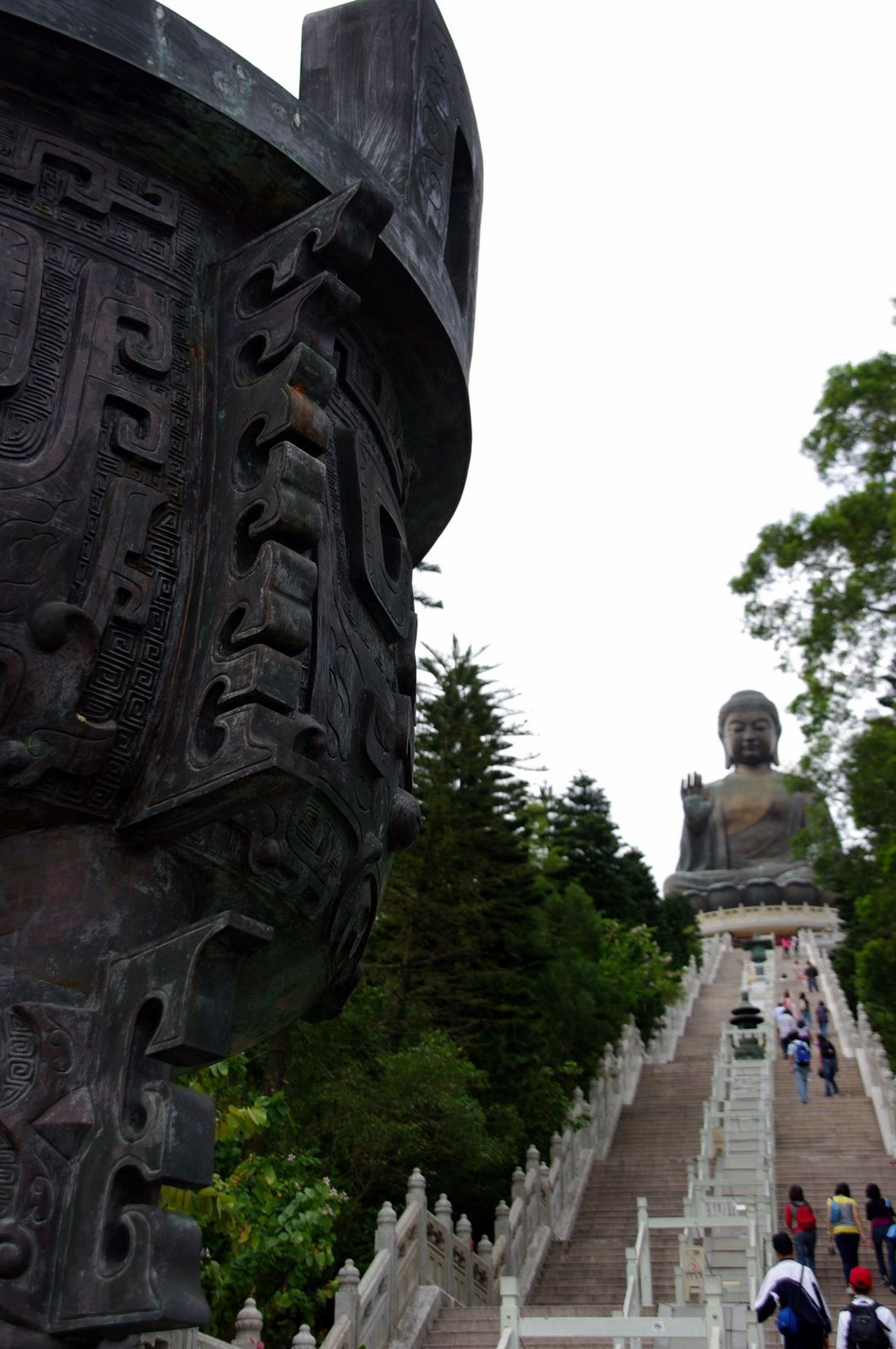 HK memories, 2009 Arch Architecture Building Exterior Clear Sky Day Footpath Monument Outdoors Place Of Worship Sculpture Statue Stone Material Tree Tian Tan Buddha (Giant Buddha) 天壇大佛 Lantau Island