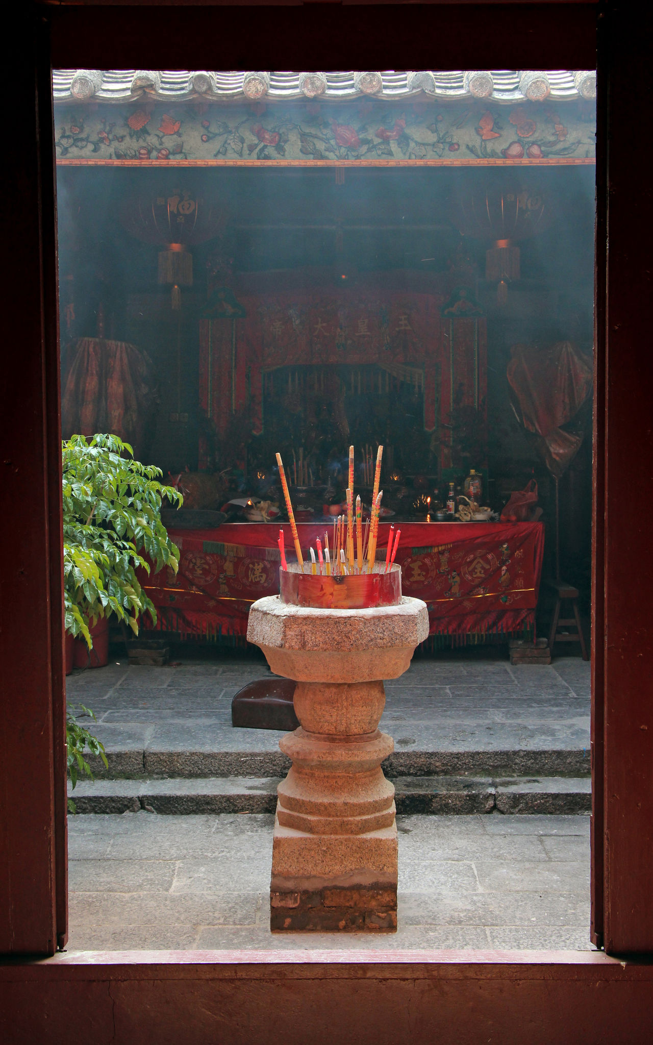 Altar Architecture Backyard Buddhism Buddhist Temple China Chinese Chinese Culture Day Door Frame Geometric Shape Incense Offer Offering Old Buildings Outdoors Qi'ao Red Temple Temple - Building Worship