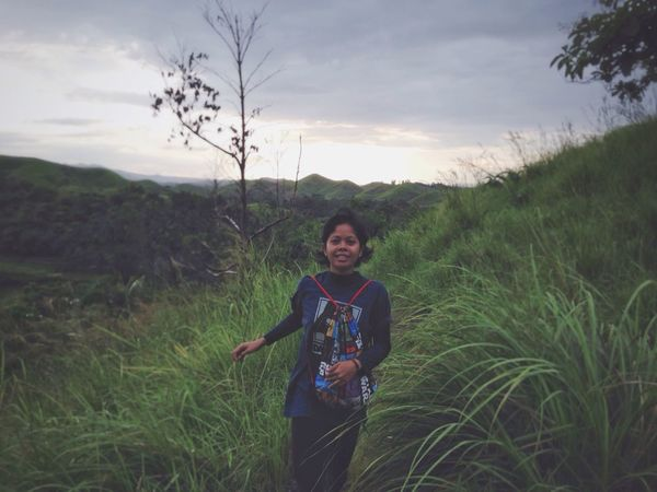 Woman Adult Real People One Person Nature Running ThatsMe Sky Landscape Front View Outdoors Tree Hills Mountain Range Beauty In Nature My Happy Place  My Happiness I Love Nature! Eyeem Philippines Scenic Peace And Quiet Fresh And Clean Under The Sun Grassy IMography