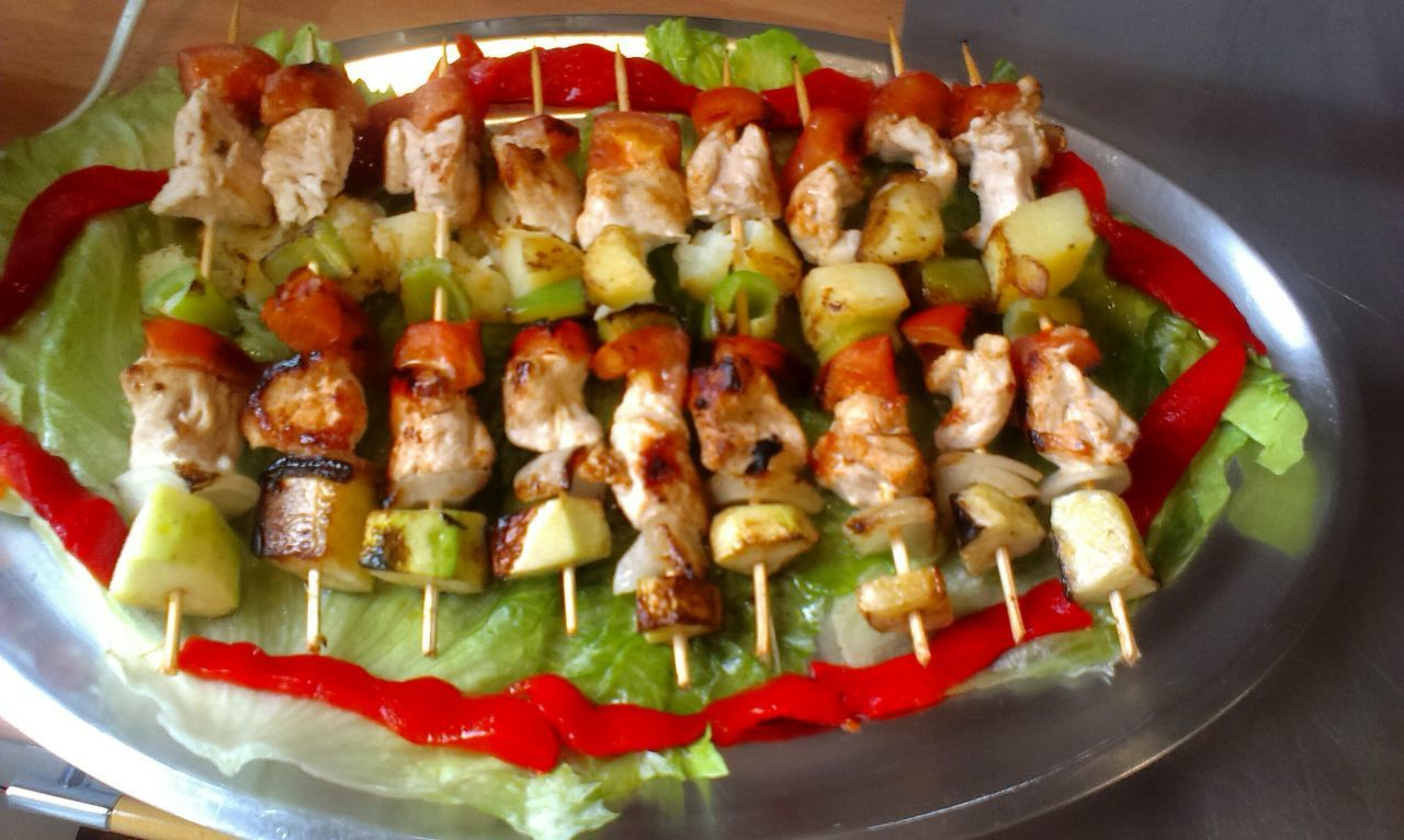 Food And Drink Food Ready-to-eat Freshness Plate Serving Size Indoors  Horizontal Table Healthy Eating Skewer No People Close-up Day Eating!