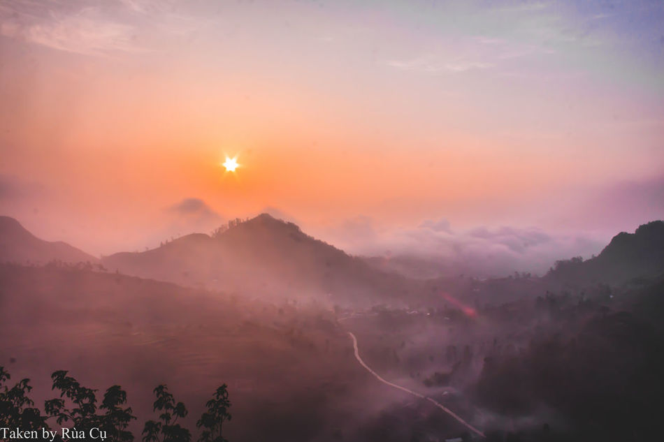 Sunset ... Beauty In Nature Day Fog Forest Fire Hagiangvietnam Landscape Mountain Nature No People Outdoors Scenics Sky Sunset Sunset #sun #clouds #skylovers #sky #nature #beautifulinnature #naturalbeauty #photography #landscape Tranquility Tree