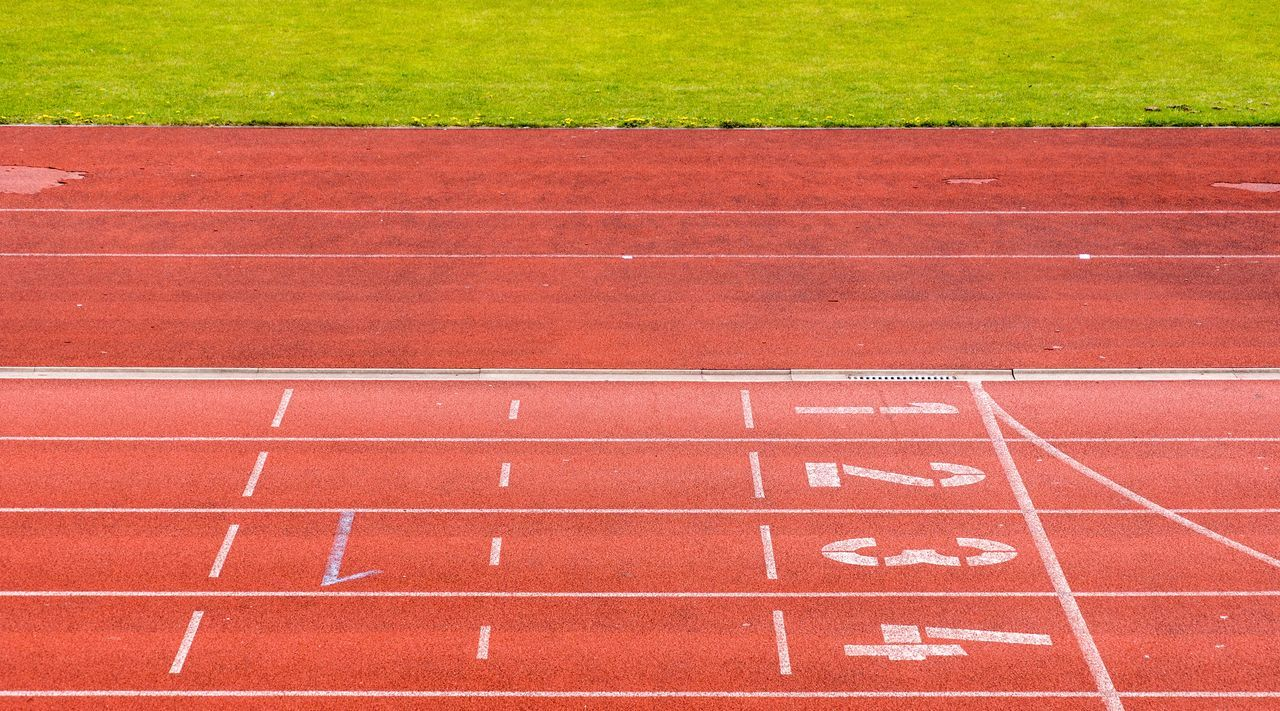 Competition Day Dividing Line Finish Line  No People Number Objective Outdoors Red Running Track Sport Sports Race Sports Track Starting Line Target Team Teamwork Track And Field Track And Field Event Track And Field Stadium Track Event
