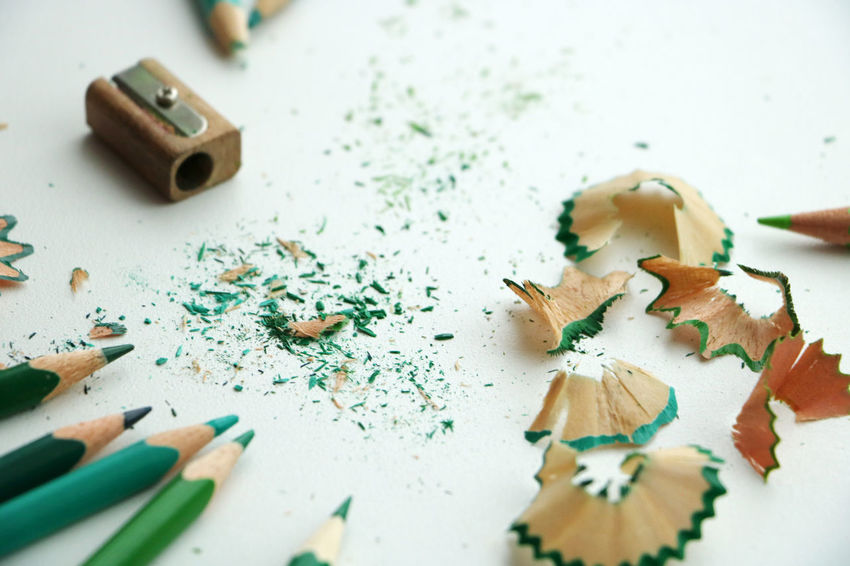 Art Close-up Color Colors Drawing Green Indoors  No People Pencil Shavings Process Share Your Adventure Sharpener Sharpeners And Pencils Still Life Table Water White Background Wood
