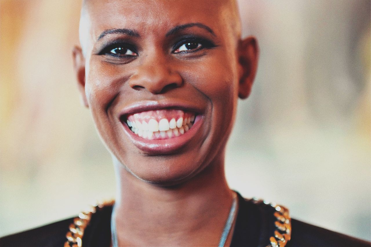 The Portraitist - 2017 EyeEm Awards One Person Focus On Foreground Looking At Camera Smiling Headshot Human Mouth Portrait Happiness Front View Real People One Woman Only Skin Skunkanansie  EyeEm Masterclass EyeEm Best Shots Beautyisourduty
