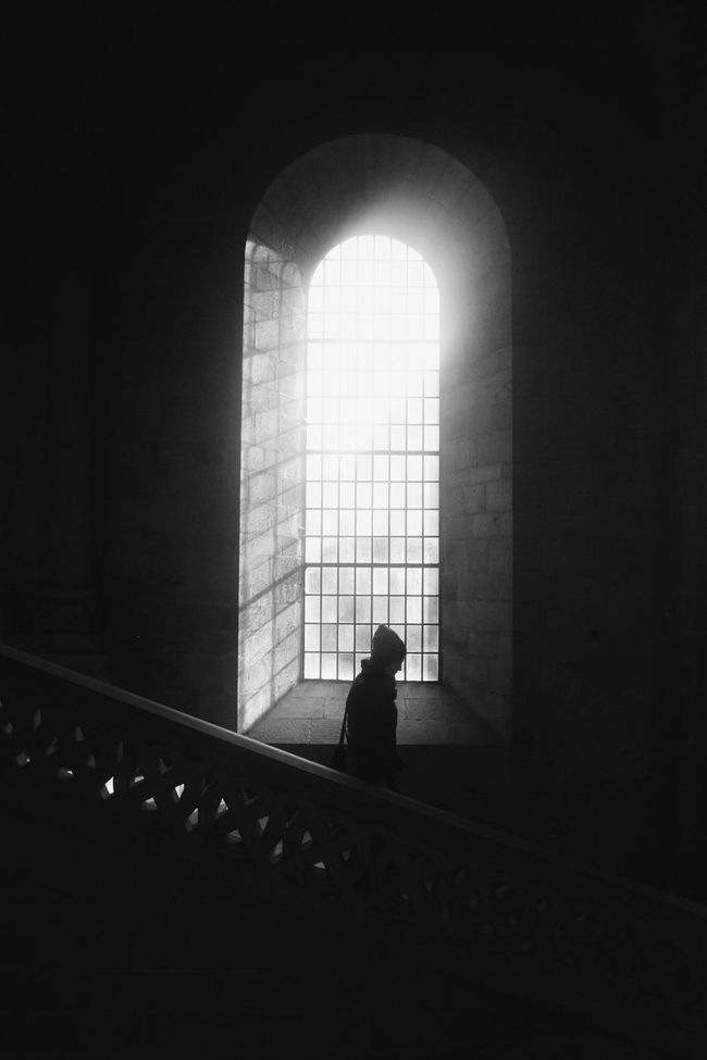 Solitude Indoors  Silhouette Window Dark Arch Street Photography Bw_collection Streetphoto_bw EyeEm Best Shots - Black + White Darkness And Light