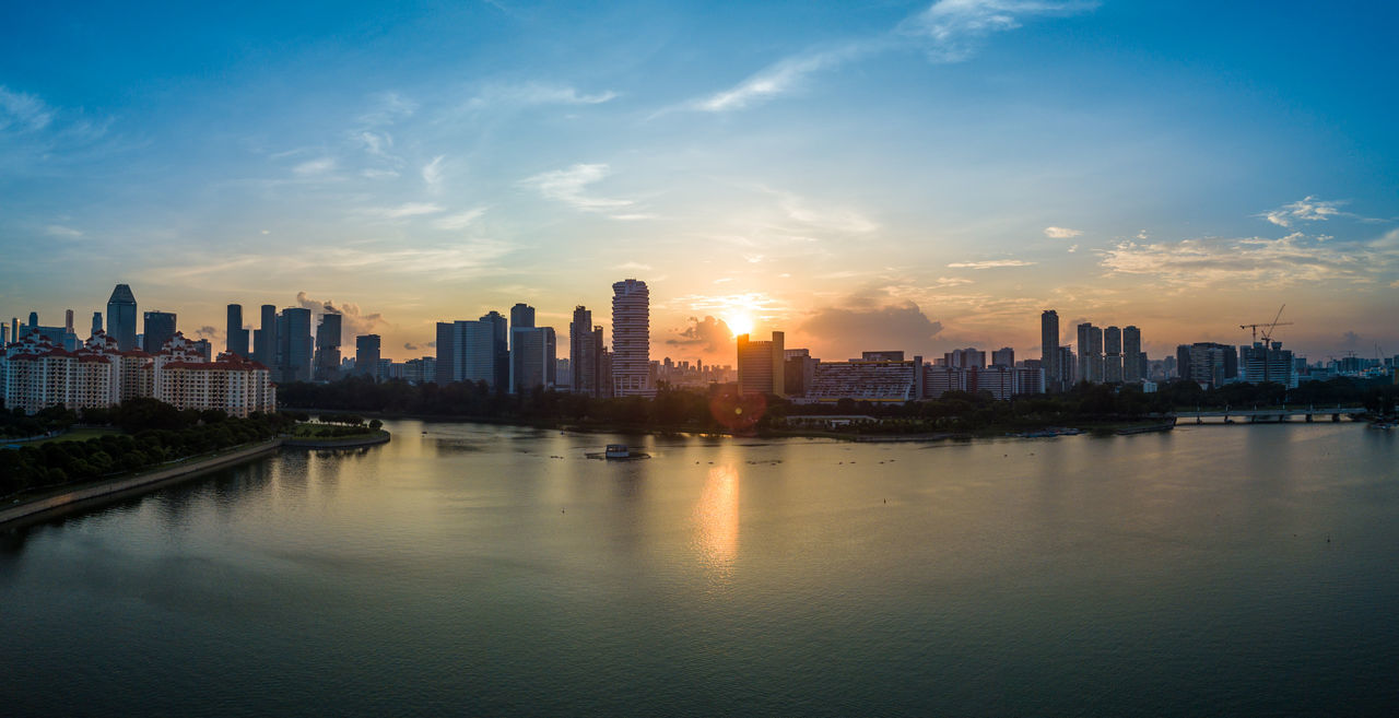Architecture Building Exterior Built Structure City Cityscape Day Downtown District Drone  Dronephotography Modern Nature No People Outdoors Sea Singapore Sky Skyline Skyscraper Sunset Travel Destinations Urban Skyline Water Waterfront