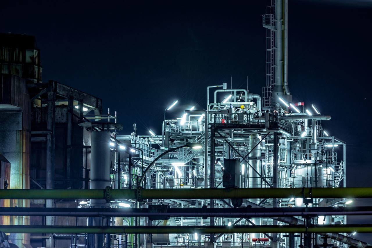 refinary Artifical Light Blue Lights  Building Exterior Factory Fuel And Power Generation Hamburg Harbour Illuminated Industry Night Night Photography Night Sky No People Oil Industry Oil Refinery Outdoors Petrochemical Plant Refinery