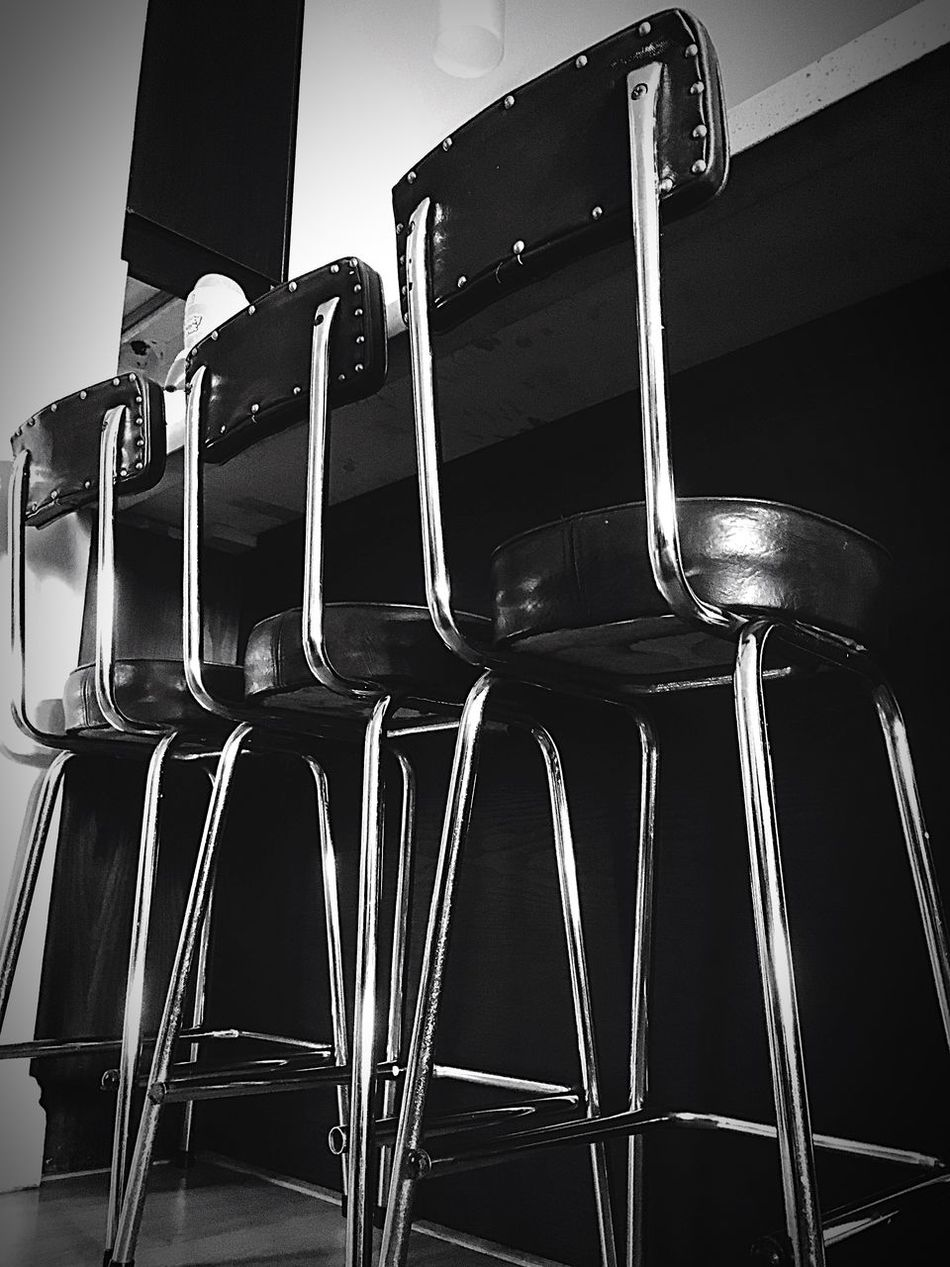Interior Views Retro Style Shining Silver  Chrome Faux Leather well traveled chairs - wish they could tell their stories. much loved