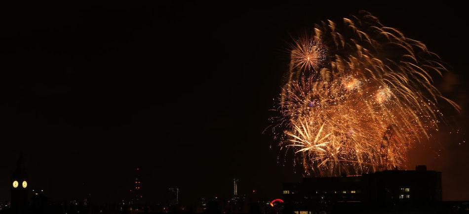 Celebration Colour Colourful Exploding Firework Display London London Eye London United Kingdom New Years New Years Eve Night No People NYE NYE 2016 Outdoors Sky