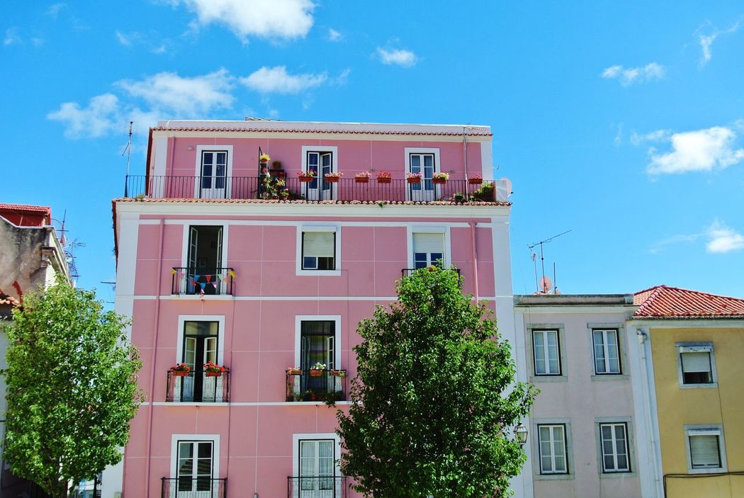 Colour Of Life Pink Building Colors Colorful Blue Sky Bold And Beautiful Bold Colors Summer Summertime Enjoying The View Lisbon Bright_and_bold Holiday Architecture Picturesque Millennial Pink