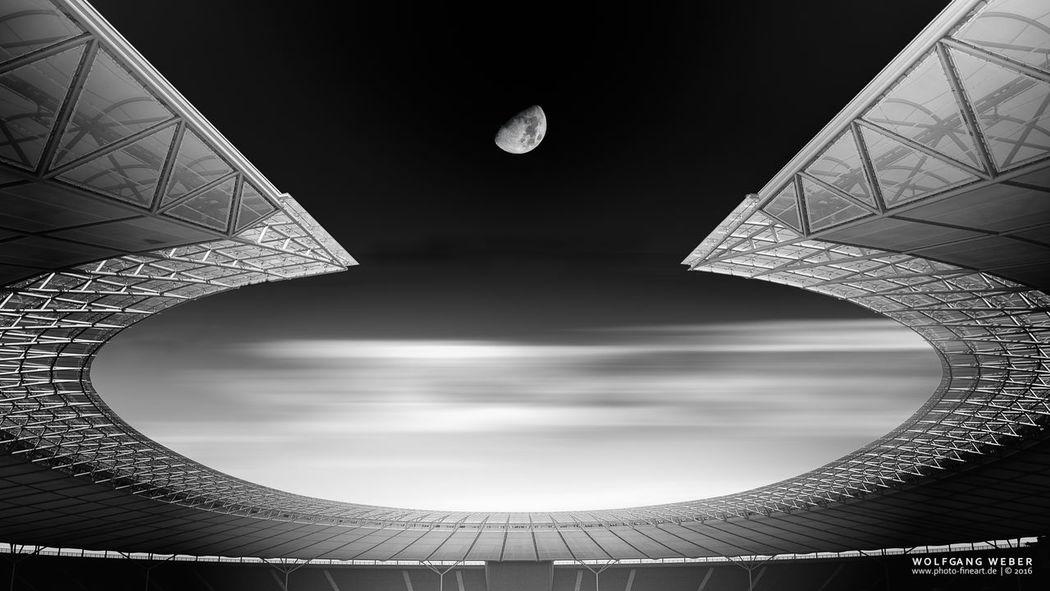Berlin Blackandwhite Fine Art Photography Moon Olympic Stadium Welcome To Black
