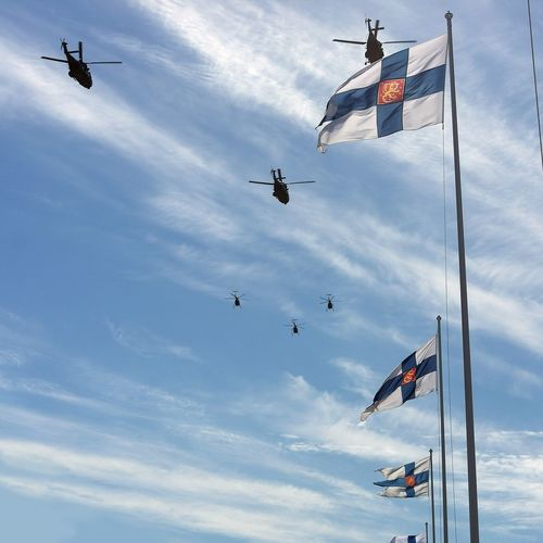 Military helicopters during a parade. Armedforces  Military Finland Defenceforces Oulu Puolustusvoimat
