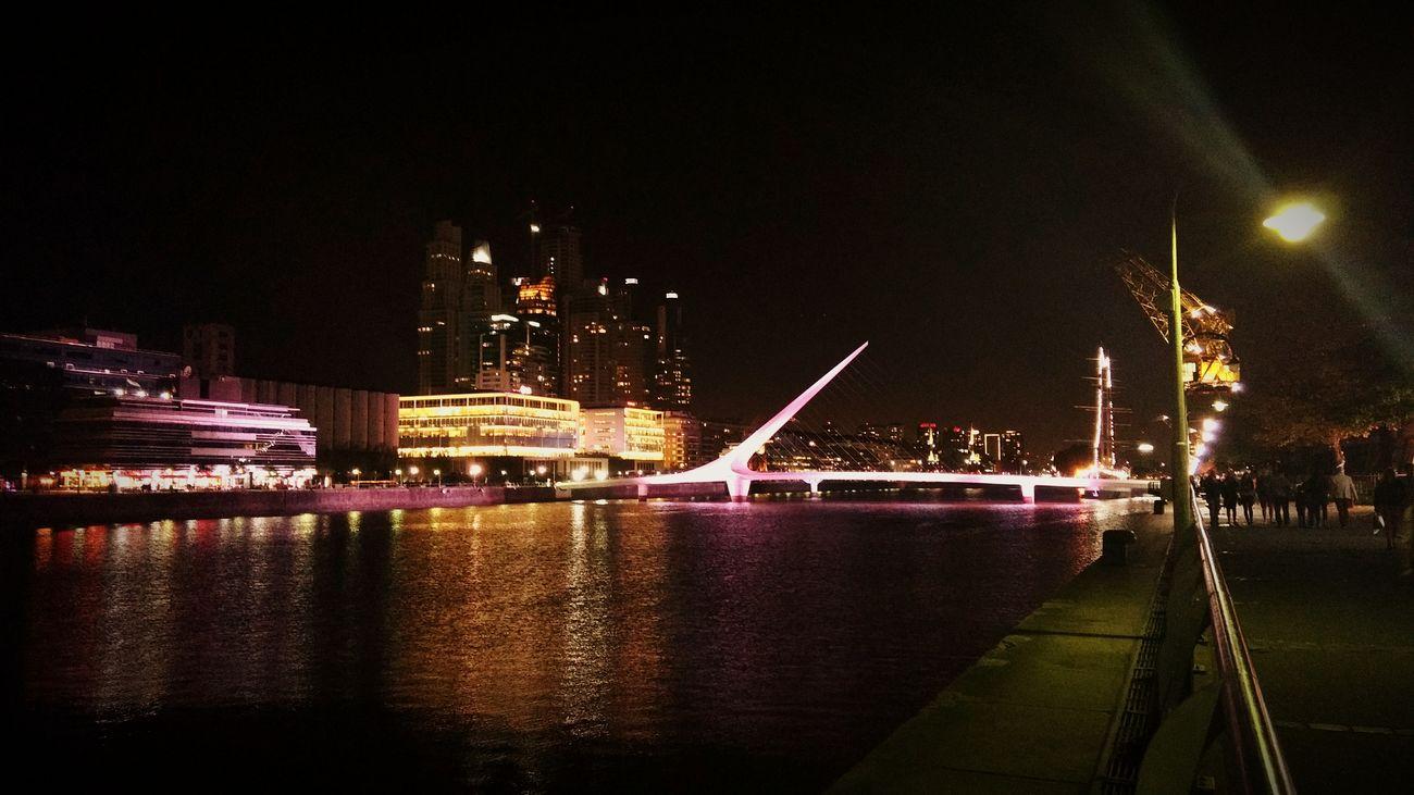 Puertomadero Night Photography Lights On Blackwater Bridge White Wall