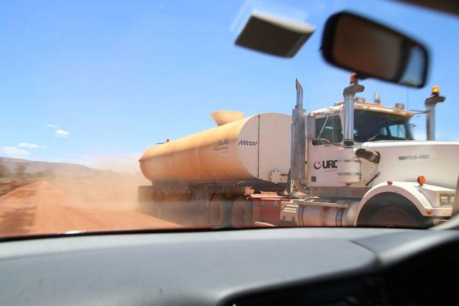 Australia Day Gravel Road High Speed Journey Outback Rendezvous Speeding Tank Truck Transportation Travel Truck