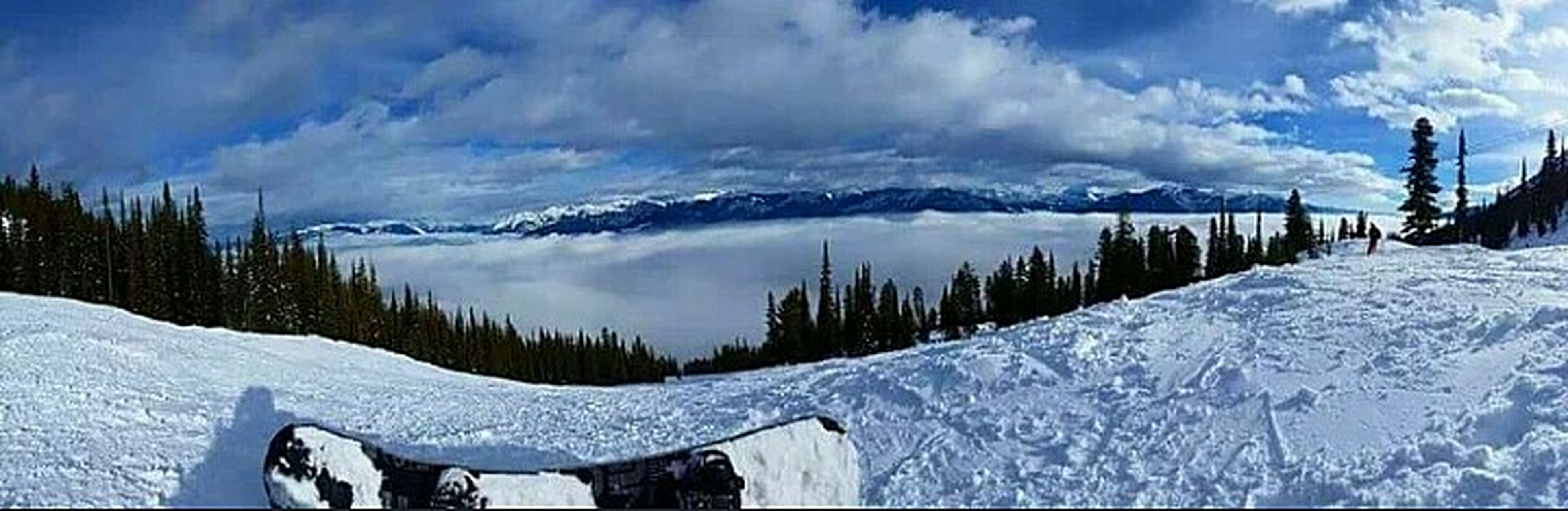 snow, winter, cold temperature, weather, sky, cloud - sky, season, tranquil scene, beauty in nature, scenics, mountain, tranquility, cloudy, nature, covering, cloud, frozen, panoramic, mountain range, landscape