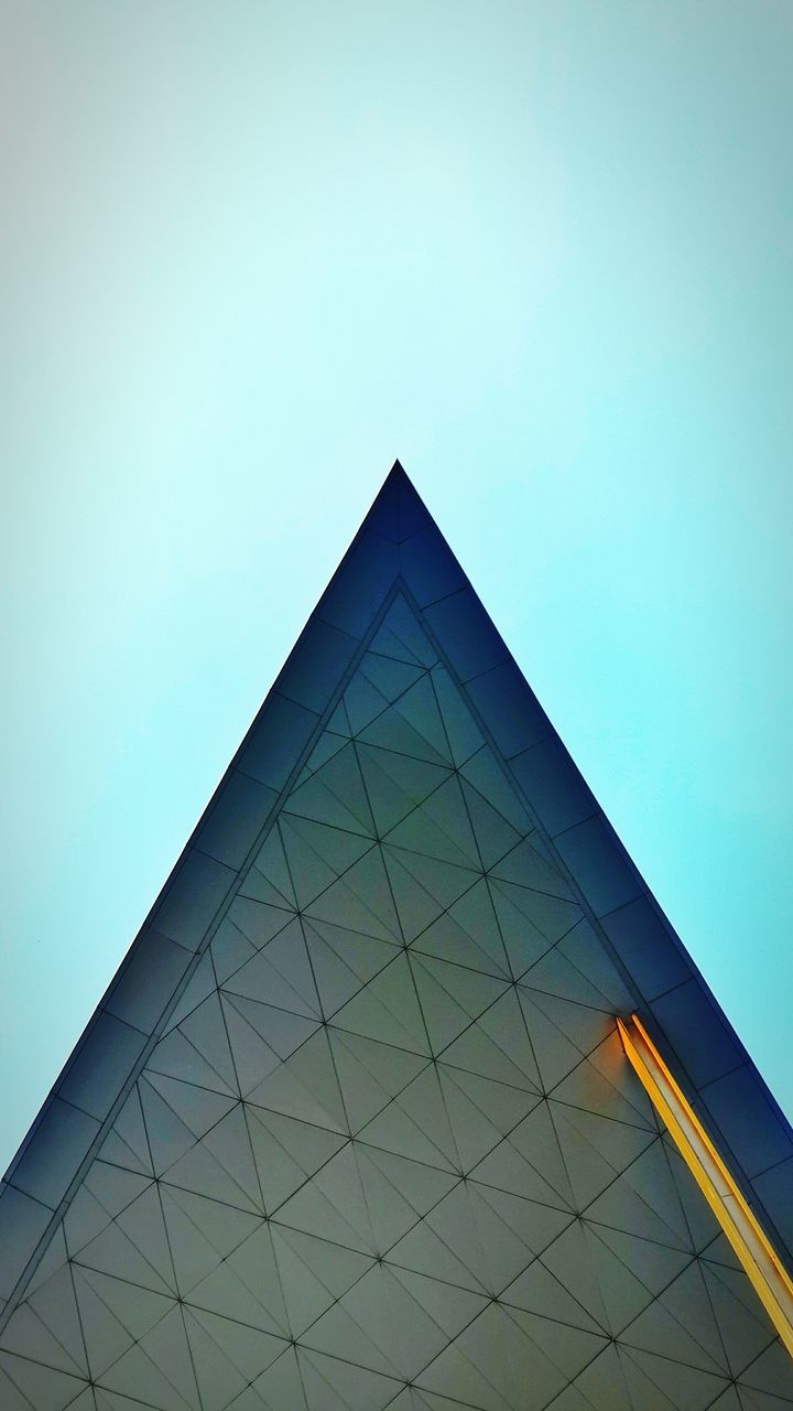 triangle shape, architecture, built structure, low angle view, modern, no people, day, clear sky, building exterior, outdoors, sky, close-up
