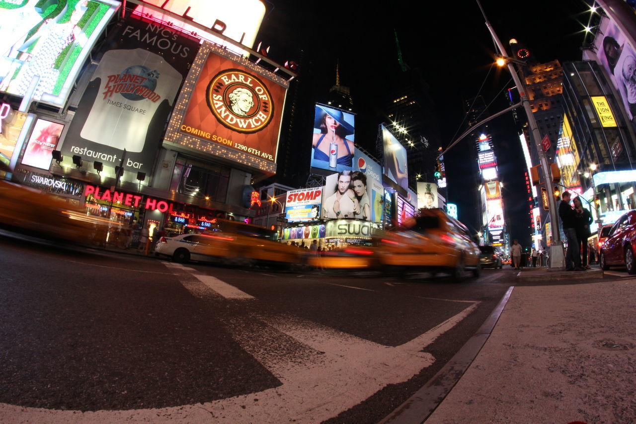 night, illuminated, street, nightlife, car, city, travel destinations, neon, yellow taxi, outdoors, people