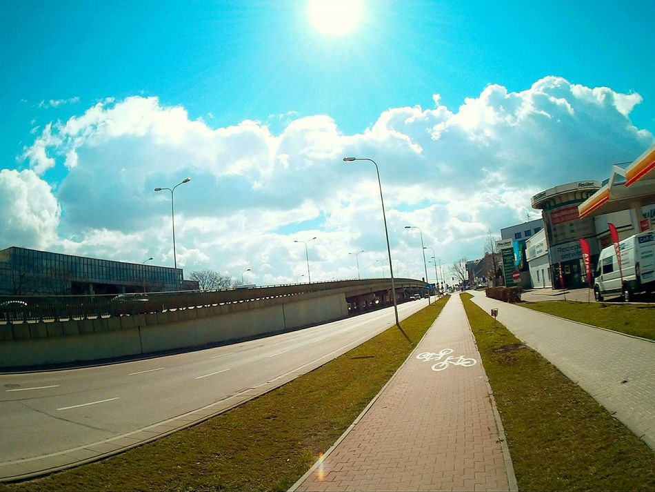 Gopro Shots GoPrography Gopro Sun Sky And Clouds Sky Collection Urban Geometry Bridge On The Road Bike Lane