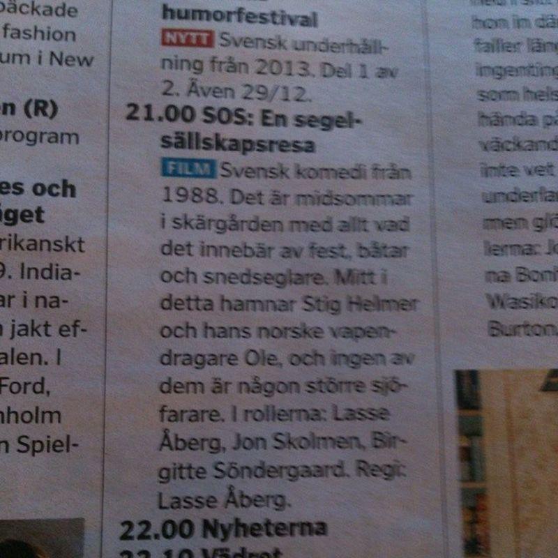 Lasse Åbergs tredje film i serien ikväll. Glömmer aldrig när jag såg den på bio. Har nog aldrig skrattat så mycket. Folk vände sig till och med om. ;-) MOVIE Movielover Lasse åberg Sos skojminnen