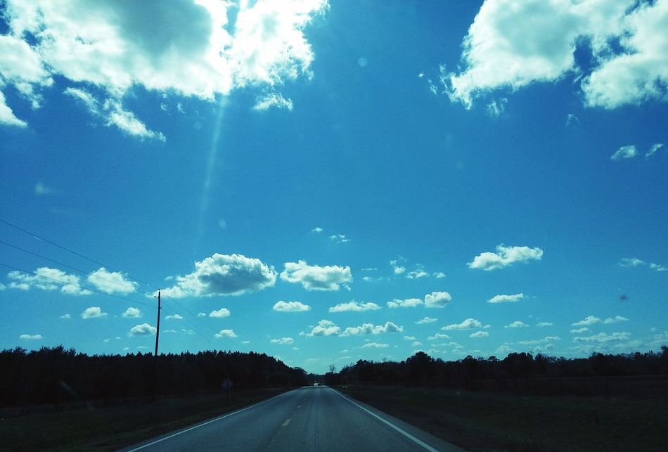 The Way Forward Transportation Sky Fly Sky My Sky 2 Laned Road Country Roads Landscape Outdoors Nature Highway Travel No People The Drive The Asphalt Back Roads Perfect Sky Firsteyeemphoto Aqua Sky Swimming Through The Windshield The City Light