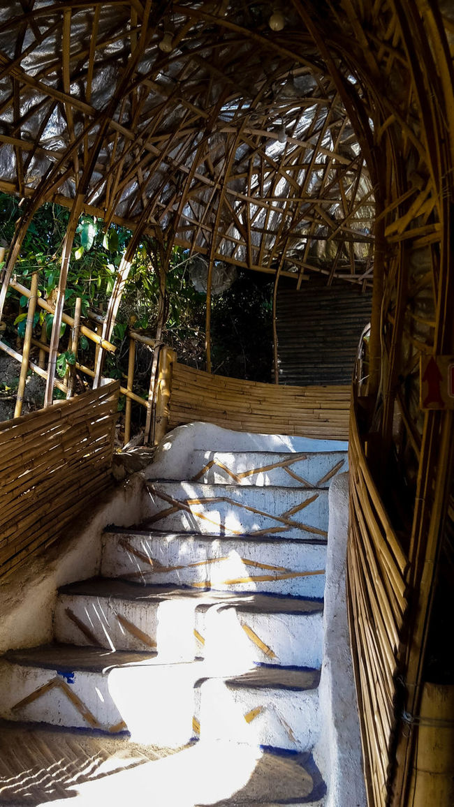 Even the stairs to the toilet are beautiful Bamboo Bamboodesign Design Pai District Staircase Thailand Wood