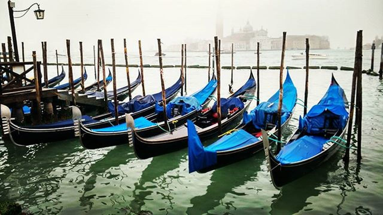 gondola - traditional boat, canal, travel destinations, moored, no people, outdoors, nautical vessel, day