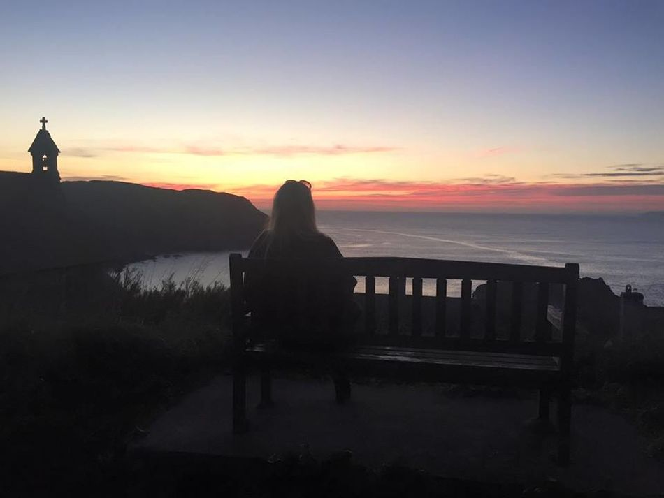 Beach Beautiful Bench Church Hope Cove Outdoors Sea Sunset Water