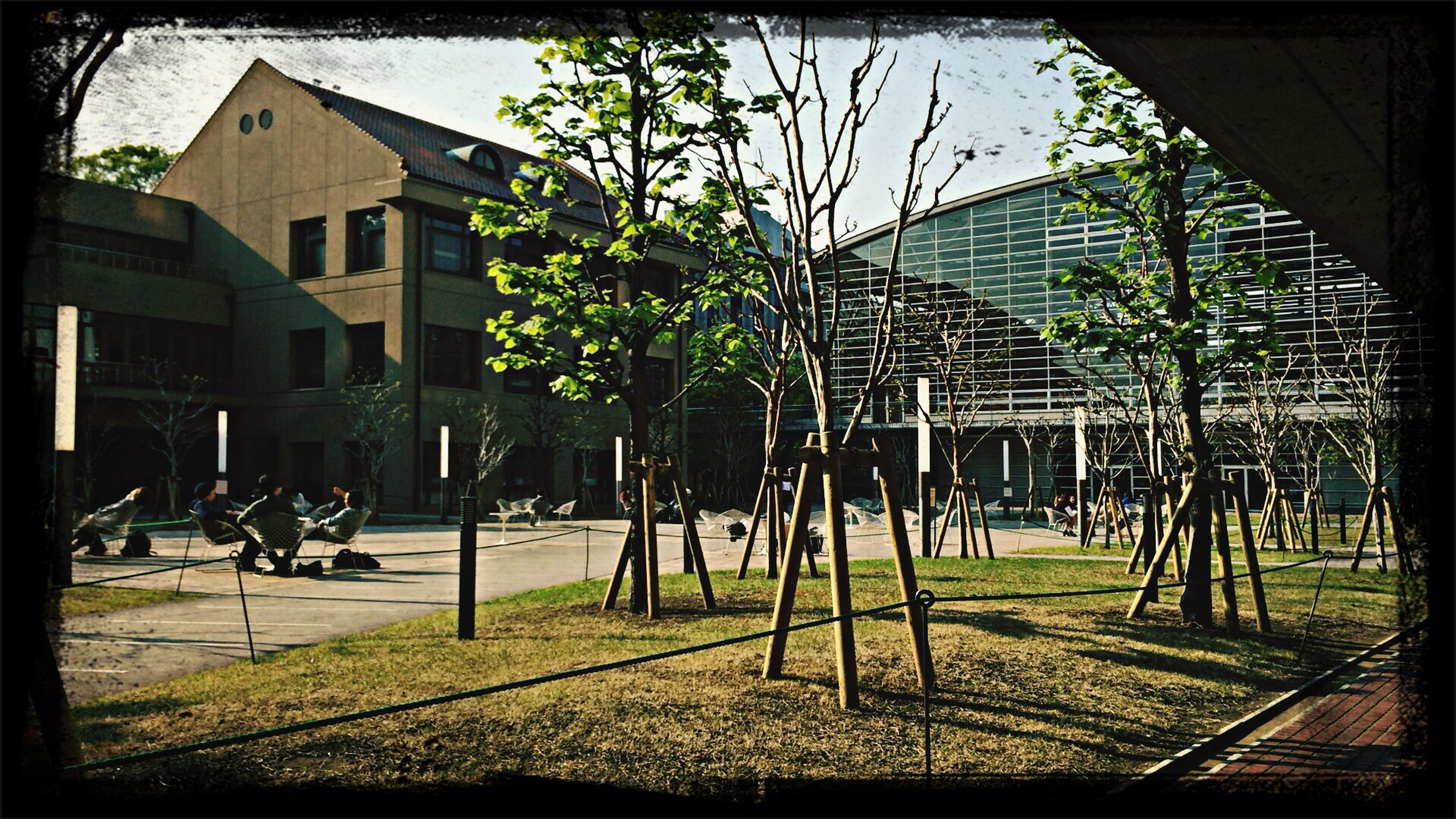 building exterior, transfer print, architecture, built structure, grass, auto post production filter, tree, lawn, city, sunlight, shadow, house, sky, building, day, residential structure, residential building, incidental people, outdoors, footpath