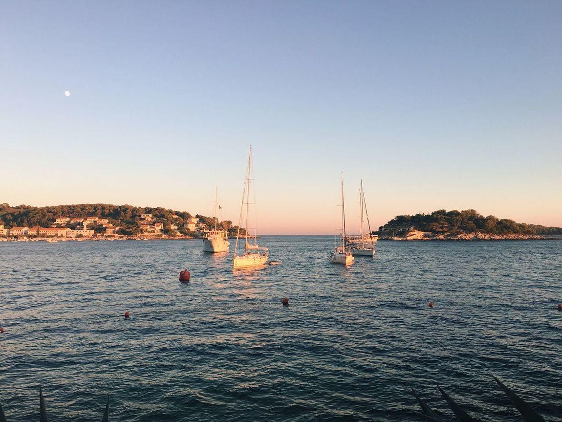 Sea Seascape Waterfront Croatia Hvar Boat Sunset Dusk Adriatic Sea