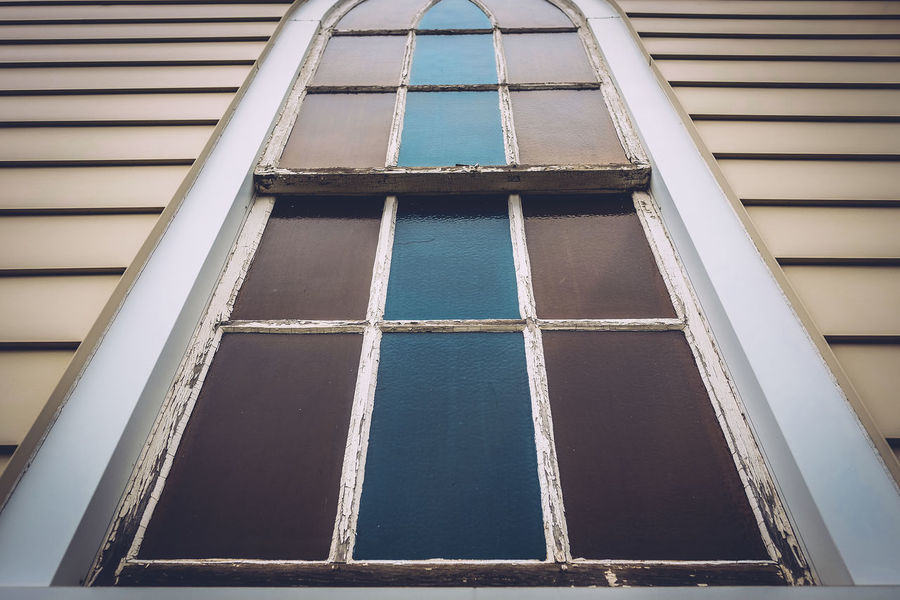 Angled Church Low Angle View Low Perspective Old Panels Stained Glass Window