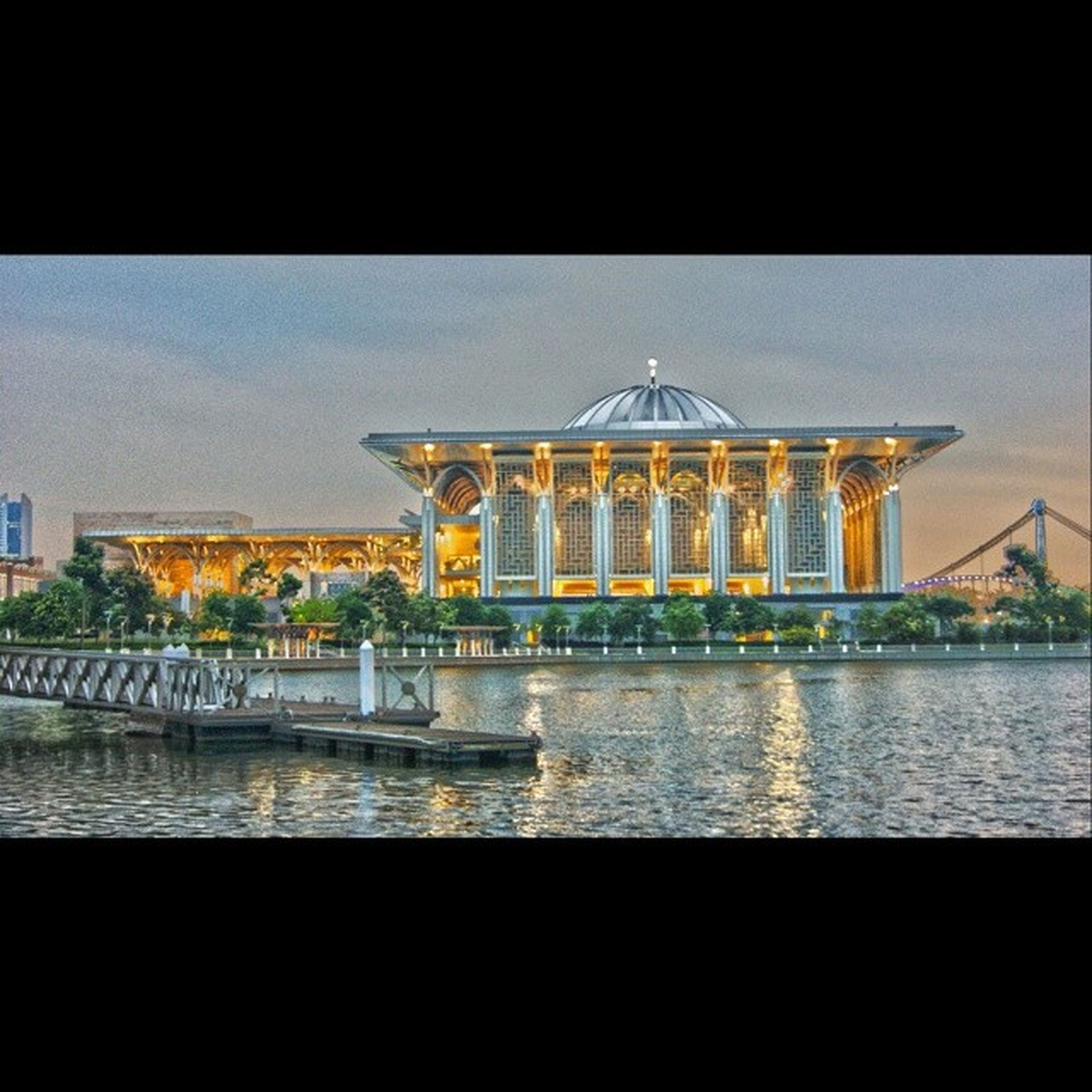 architecture, water, built structure, building exterior, transportation, night, reflection, bridge - man made structure, river, illuminated, connection, waterfront, clear sky, sky, outdoors, railing, travel, no people, auto post production filter, city