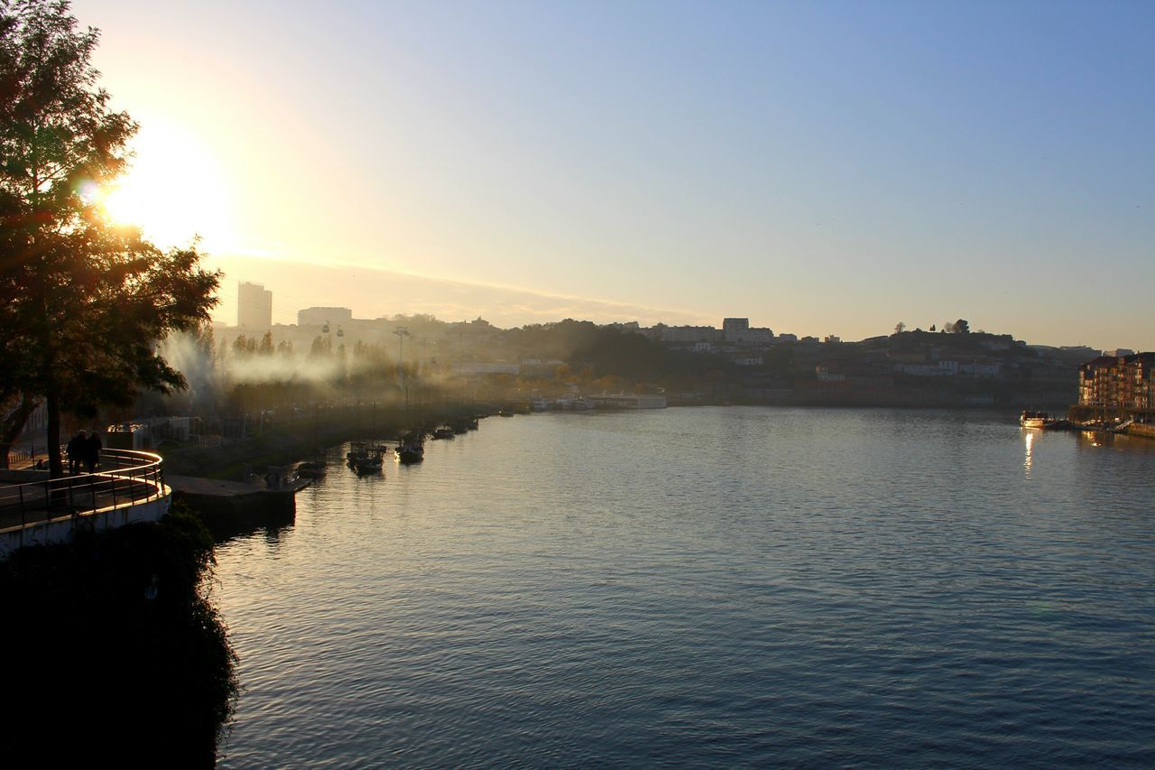 Fog. Porto Reflection Water Sunset Nature Beauty In Nature Scenics Landscape Reflection Lake Outdoors Travel Destinations Portugal Photooftheday Contrast Carpe Diem Relaxing Moments Reflection River River View Water And Sky Photography Clouds And Sky Rio Douro  Douro River Portugal
