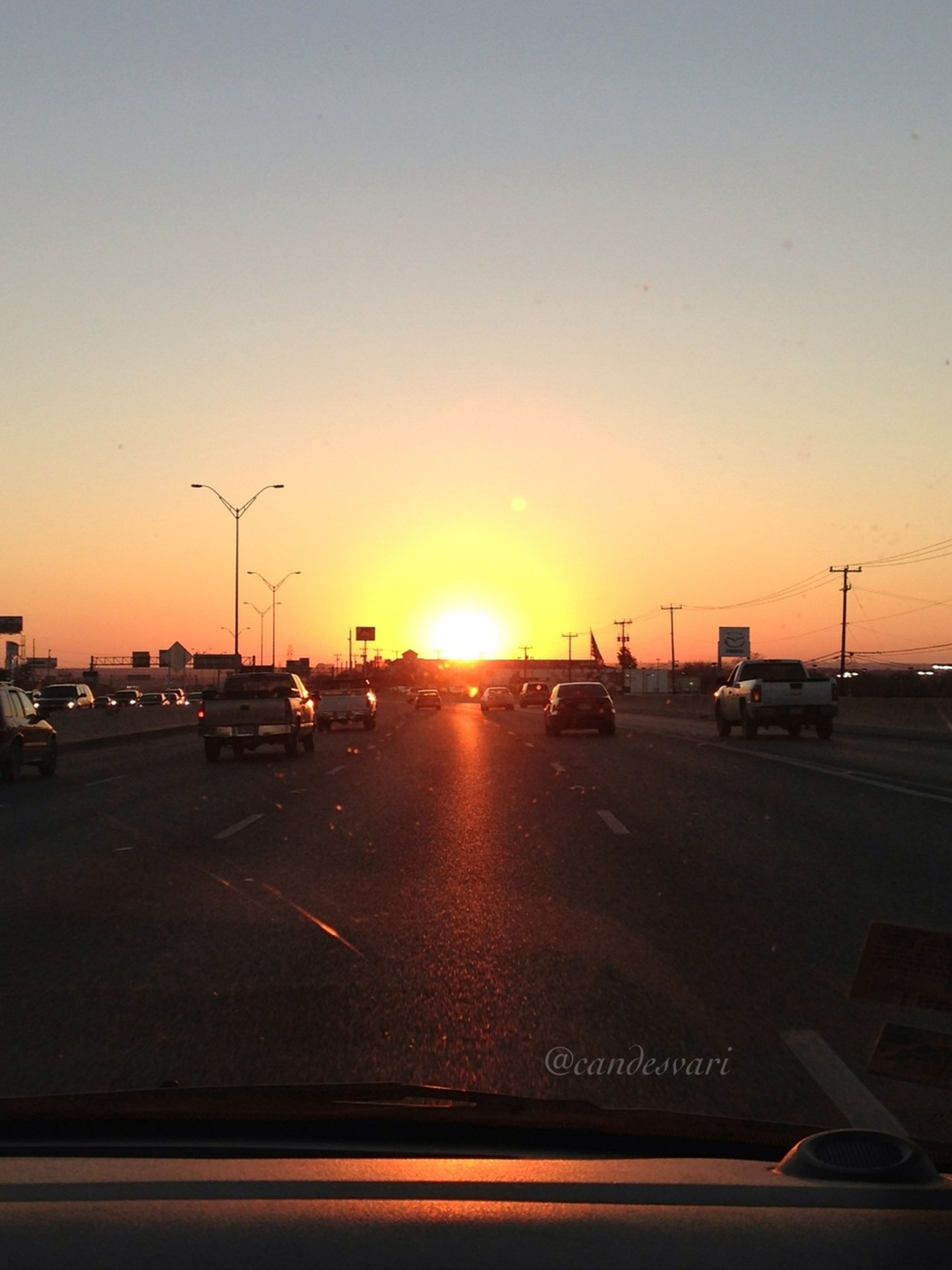 Sunset, Sun_collection, My View, Traffic, Driving