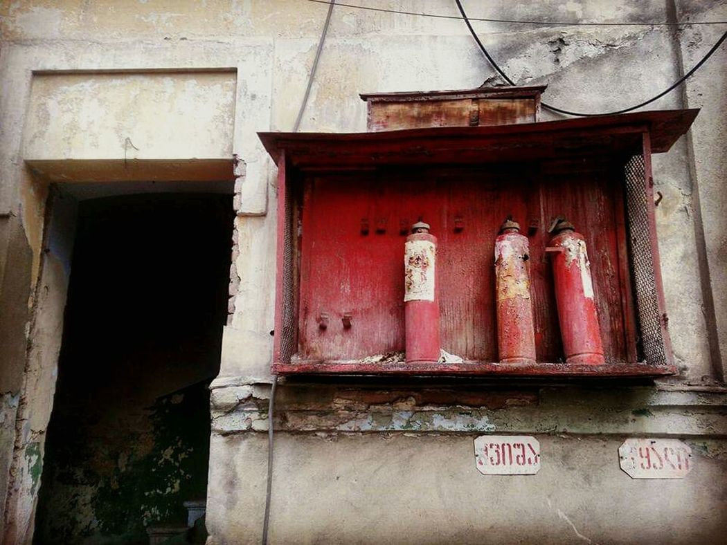 Fireextinguisher Building Exterior Red Old