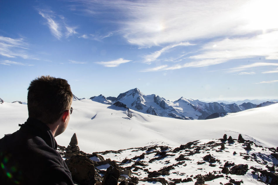 """""""enjoying the view"""" Adult Adults Only Adventure Beauty In Nature Cold Temperature Day Glacier Hiking Hikingadventures Landscape Mountain Mountain Range Mountain View Nature One Person Outdoors People Scenics Sky Snow Sunlight Tourist Warm Clothing Winter Young Adult"""
