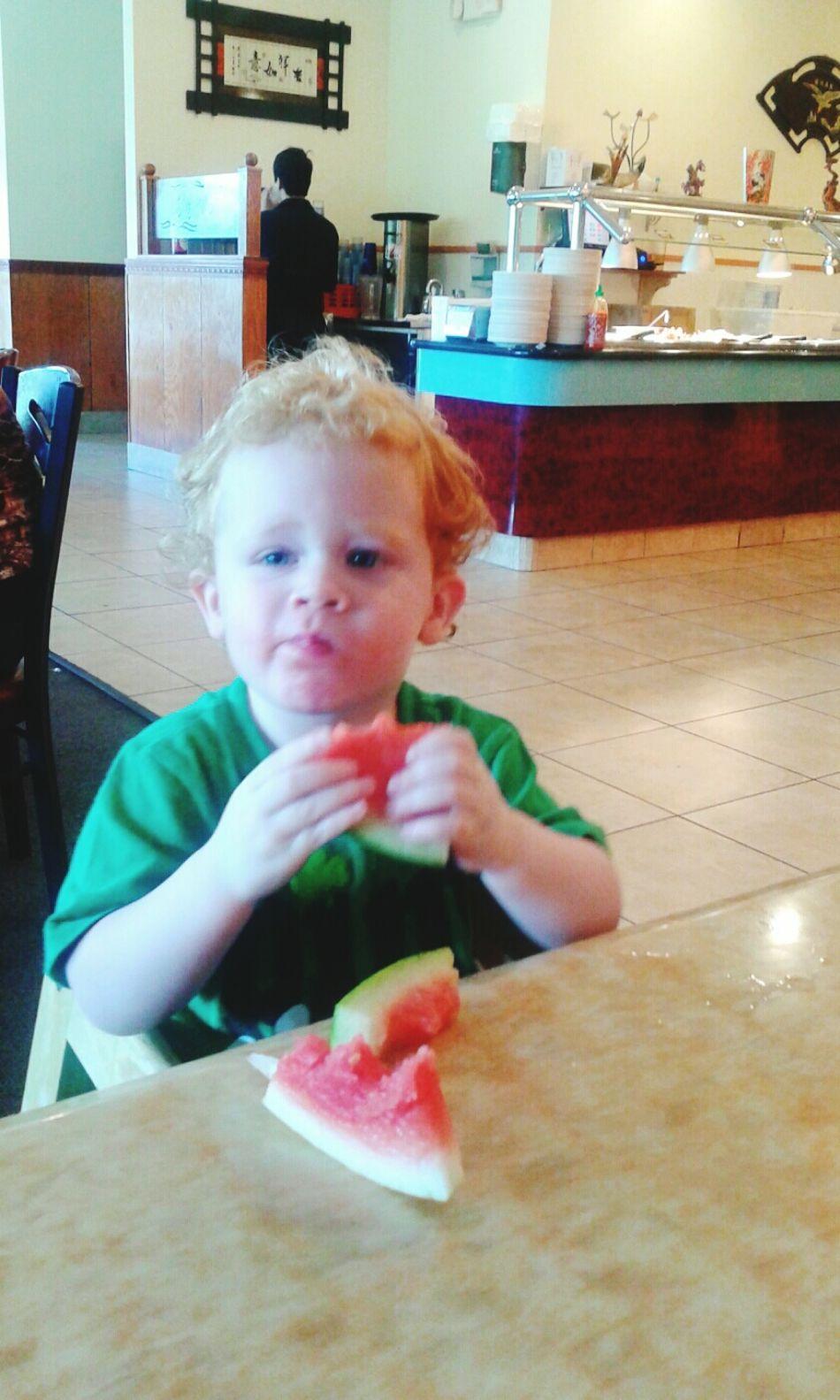 Taking Photos Watermelon🍉 OpenEdit My Grandson Grandson Redhead Family Cute Little Dirty Face. ;) Cutie Enjoying Life