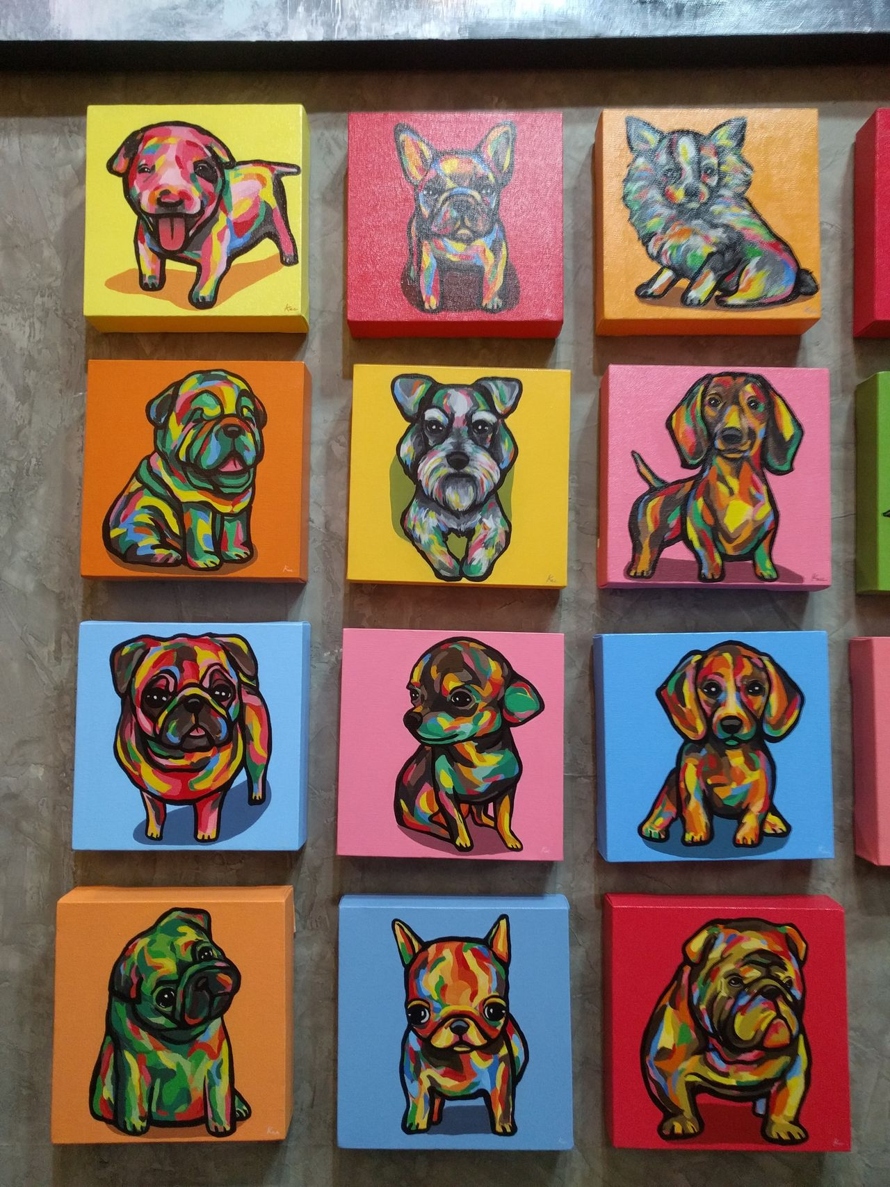 Paintings in the market Art ArtWork Canvas Color Culture Cultures Dog Drawing Indoors  Market Multi Colored Painting Puppies Tiles Wall