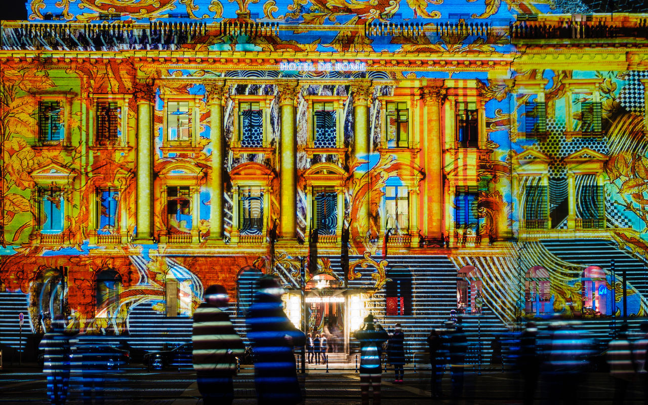 Bebelplatz Colors Hotel De Rome People Watching Stripes Architecture Blue Built Structure Colorful Festival Of Lights Hotel Illuminated Night Outdoors People Real People