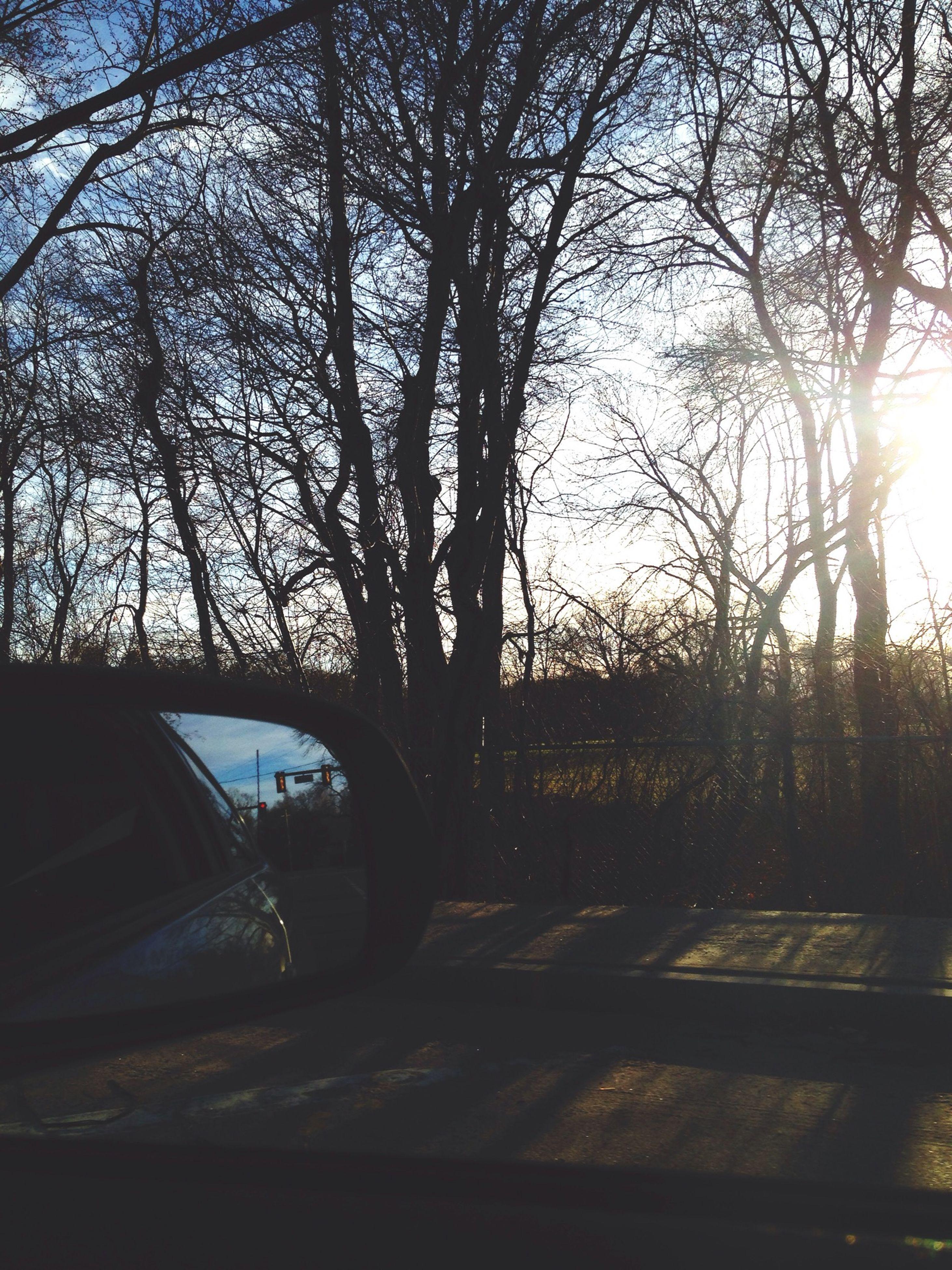 transportation, tree, car, land vehicle, mode of transport, bare tree, sun, road, sunset, sunlight, silhouette, street, branch, sky, sunbeam, nature, lens flare, travel, no people, clear sky