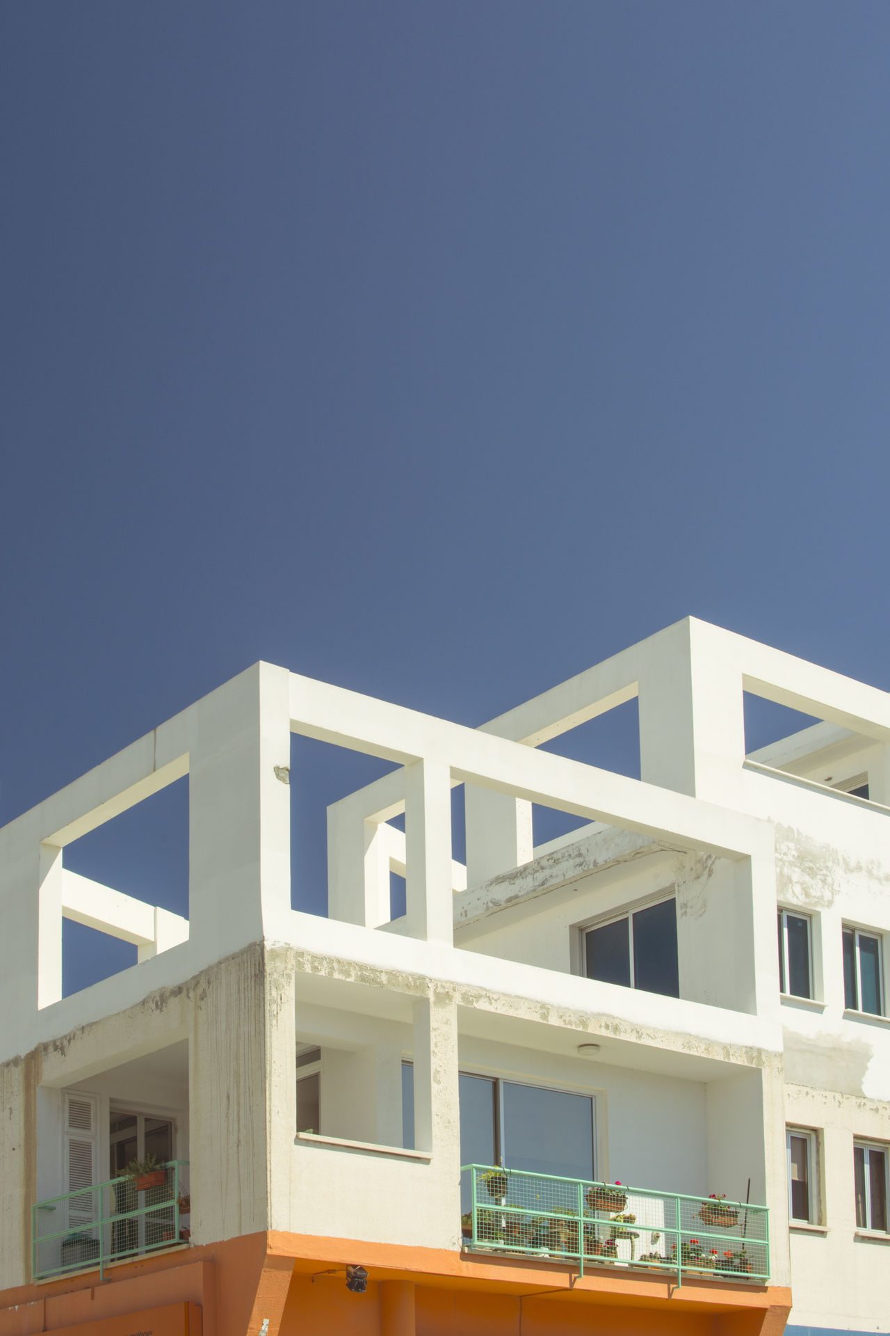 Living House. Cyprus Architecture Blue Bright Colors Building Exterior Built Structure Clear Sky Cyprus Day Empty Space Geometry Instagram Low Angle View Minimal Minimalistic Modern No People Outdoor Photography Outdoors Sky The Architect - 2017 EyeEm Awards White Color